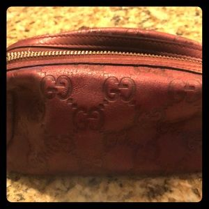AUTHENTIC Gucci  burgundy leather makeup bag
